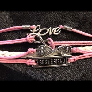 Jewelry - Pink & White Best Friend Leather Bracelet w/Charms